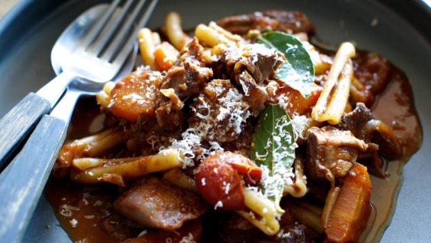 goat ragu with red wine