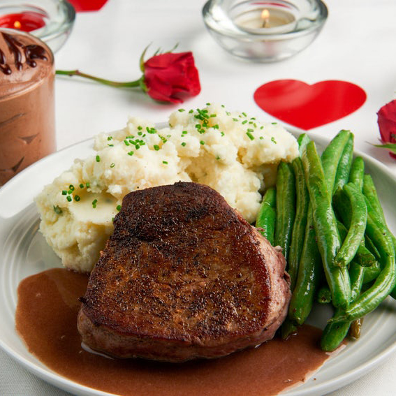 Valentine's Day Fillet Steaks with Sour Cream and Chive Mash